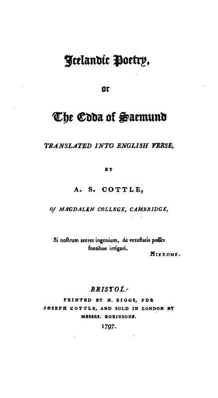 Cottle, Icelandic Poetry