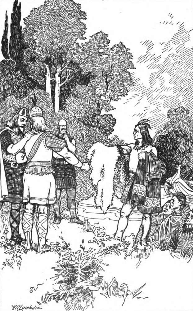Victor R. Lambdin, illustration de Viking Tales de Jennie Hall, Thorfinn commerce avec les indigènes du Wineland