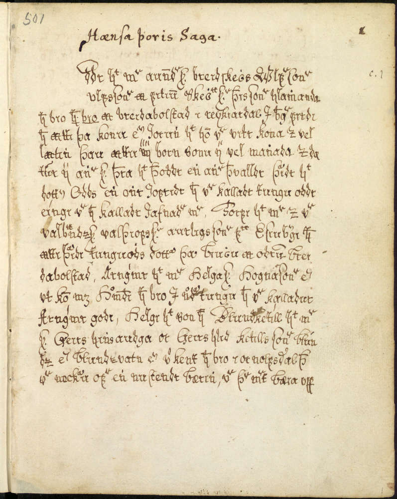 Hœnsa-Þóris saga dans le manuscrit AM 501 4to