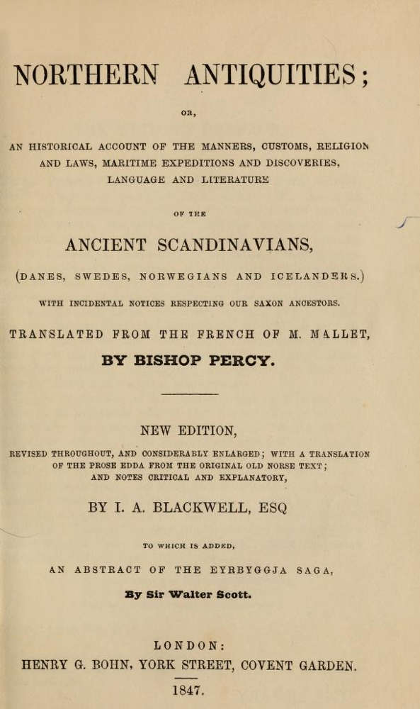 Northern Antiquities (1847), Mallet, Percy, Blackwell